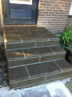 Front Step Concrete Overlay - Calgary Alberta Concrete Overlay, Concrete Tiles, Front Entry, Front Porch, Concrete Front Steps, Kerb Appeal, Floors And More, Decorative Concrete, Decorating Ideas