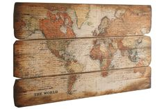 Heine - Wanddecoratie 'Wereldkaart' multicolour