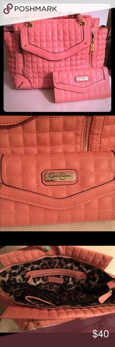 Jessica Simpson Purse and Wallet Coral purse and matching wallet. Gently used with some signs of use. Jessica Simpson Bags Shoulder Bags