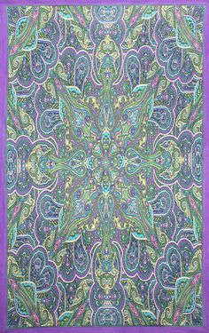 Kaleidoscope Paisley Indian Throw Tablecloth Spread Twin 60x90 Gorgeous