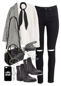 """""""Outfit with ripped jeans a grey coat"""" by ferned on Polyvore featuring H&M, MANGO, Topshop, Yves Saint Laurent, Casetify, Maison Scotch, 3.1 Phillip Lim, Alexander Wang, Cartier and Burberry"""