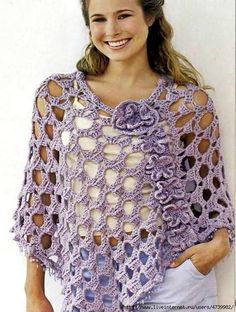 This is a free crochet poncho pattern. It has photos and diagrams to guide you in your crochet journey. Gorgeously girlish and fantastically detailed, crochet poncho are a blast from the past which are back in a big way. Light and … Read more. Crochet Shawls And Wraps, Crochet Scarves, Crochet Clothes, Crochet Stitches, Shawl Patterns, Cardigan Au Crochet, Crochet Capas, Crochet Diy, Crochet Free Patterns