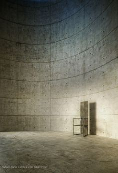 tadao ando unesco meditation space - occupation of circular space