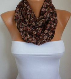 Brown Chiffon Infinity Scarf,Clothing Giftö Circle Scarf Loop Scarf Gift for her women fashion accessories http://etsy.me/2Db5IqS #accessories #scarf #christmas #shawl #fatwomanscarf #women #infinityscarf #circles #infinity