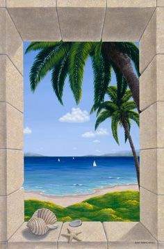 Painted by Dina Farris Appel, the Hawaiian Fantasy with Shells wall mural from Murals Your Way will add a distinctive touch to any room. Beach Wall Murals, Murals Your Way, Ocean Wallpaper, Door Murals, Beautiful Nature Wallpaper, Tropical Art, Landscape Paintings, Wall Art Prints, Mandala