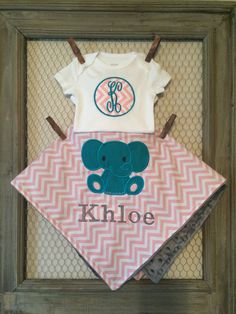 Pink Chevron Elephant Blanket,Personalized Onesie And Blanket Set by TBEmbroidery4You on Etsy