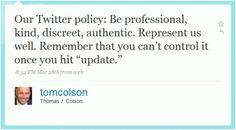 Social Media Policy in a tweet