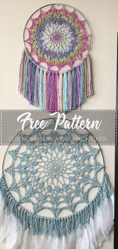Serene Mandala Dreamcatcher – Free Pattern – Free CrochetYou can find Crochet mandala and more on our website. Crochet Wreath, Wire Crochet, Crochet Home, Crochet Crafts, Crochet Projects, Crochet Dreamcatcher Pattern Free, Boho Crochet Patterns, Crochet Mandala Pattern, Knitting Patterns