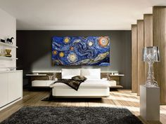 String & Nail Art 'Van Gogh's Starry Night'. Large Wall Art on Wood Home Decor. Unique nature acrylic painting embroidery art, ready to hang