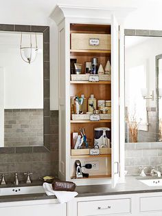 Extend your cabinetry from the vanity countertop to the ceiling to capture vertical storage space. This above-counter unit provides shelving for a cache of cosmetics and other bathroom necessities. The lowest shelf includes a concealed electrical outlet. Bathroom Countertop Storage, Bathroom Cabinet Organization, Vanity Countertop, Storage Cabinets, Bath Storage, Smart Storage, Bathroom Cabinets, Bathroom Vanities, Bedroom Storage