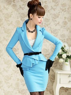 Grace Blue Suit Collar Womens Dress - Womens Dresses - Womens Clothing