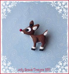 Rudolph The Red-Nosed Reindeer polymer clay ornament/bow center/bead/charm