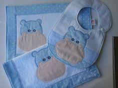 Kit Papinha Hipopótamo Azul. Composto de 3 peças b7bd7674822
