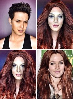 Paolo Ballesteros Cleverly Uses Makeup To Turn Himself Into Celebrities Celebrity Makeup Transformation, Paolo Ballesteros, Crazy Makeup, Female Stars, Wedding Art, Hollywood Celebrities, Natural Looks, My Hair, How To Look Better