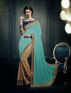 #Beige Jacquard #Saree with #Aqua Green Pallu and #Navyblue Blouse Grab Here @ http://goo.gl/Vc0eBg #NaarikeSangVastrang