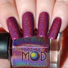 NEW Atomic Age Deep Plum 3D Scatter Holo Nail by ModLacquer
