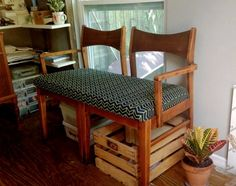 Making homemade furniture is a great option when you are looking to do a fun DIY woodworking project. One option is to make a settee bench from two chairs.
