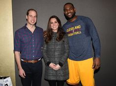 The Duke and Duchess of Cambridge and LeBron James.  Where: Vaults at the Barclays Center Coat: Tory Burch