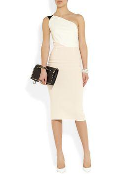ROLAND MOURET Belmont color-block wool-crepe dress