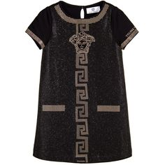 Young Versace Black Studded Cotton Logo Dress with Gold Medusa at Childrensalon.com