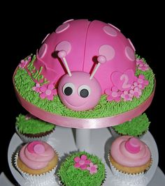 Pink Ladybug Cupcake Tower for 2nd Birthday | Flickr - Photo Sharing!