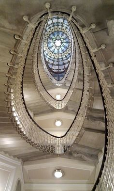 Staircase in Hotel Bristol, Genoa, Italy Beautiful Architecture, Beautiful Buildings, Art And Architecture, Architecture Details, Modern Buildings, Grand Staircase, Staircase Design, Stained Staircase, Hotel Bristol