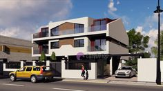 Case cuplate ''in oglinda''- Vedere acces principal  Duplex single-family homes- Street view  Etichete: proiecte case, proiecte vile, proiecte case complexe, proiecte case cu etaj, proiecte case cu mansarda, case moderne Home Fashion, Attic, Mansions, Vile, House Styles, Interior, Outdoor Decor, Model, Houses