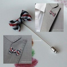 Boutonniere Rose Ribbon Lapel Pin Mens Fashion Accessories bt37 A
