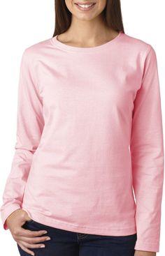 la t ladies' combed ring-spun jersey long-sleeve t-shirt - pink (3xl)