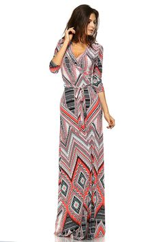 VIVICASTLE Women's Printed V-neck 3/4 Sleeve Wrap Waist Tie Long Maxi Dress (Large, I76, coral) at Amazon Women's Clothing store: