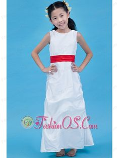 White Column Scoop Flower Girl Dress Ankle-length Taffeta Belt- $93.25  http://www.fashionos.com  http://www.facebook.com/quinceaneradress.fashionos.us  The skirt is accented with bubbles and pick ups that making the skirt special. The zipper up closure and the hand made flowers on the waist of the back will be sure to surprise the crowd. Noble little princess.