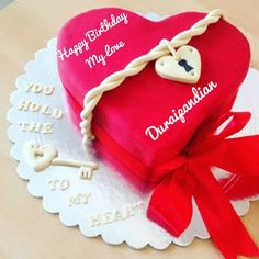 Beautiful Red Heart Birthday Cake For Lover With Name
