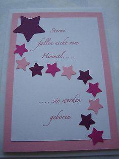 Karte zur Geburt Glückwunschkarte Baby Mädchen Handarbeit Rosa Sterne NEU