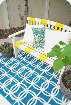 How to Paint a Rug -- seven Tips to Painting a Perfect Rug by Tatertots and Jello #DIY