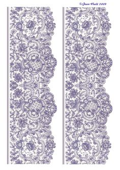 These are gorgeous - Seamless edgings in purple with delicate lace fabric patterns - clip art prints for your decoupage and paper crafts . Vintage Diy, Vintage Paper, Paper Lace, Lace Fabric, Fabric Shop, Lace Patterns, Print Patterns, Lace Design, Pattern Design