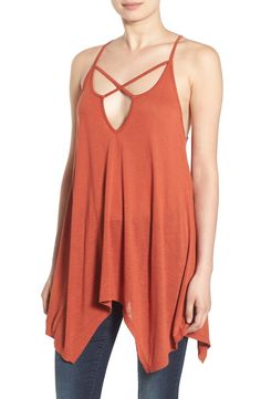 Delicate straps form an alluring web at the dipped, deep V-neckline of this longline tank. Definitely a fun piece from the Nordstrom Anniversary Sale!