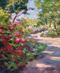 Painting - A Spring Walking Path by David Lloyd Glover , Spring Painting, Garden Painting, Oil Painting On Canvas, Painting Frames, Impressionist Landscape, Impressionist Paintings, Landscape Paintings, Landscapes, Contemporary Landscape
