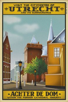Travelposter of the city of Utrecht, the Netherlands - Achter de Dom -