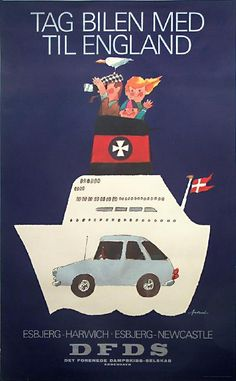 Danish vintage travel poster - DFDS - Newcastle-Esbjerg by Ib Antoni