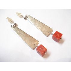 Silver Hammered Coral Modern Earrings Handmade Dangle Contemporary... (€15) ❤ liked on Polyvore featuring jewelry, earrings, annarecycle, coral silver jewelry, earring jewelry, silver jewelry, coral jewelry and coral earrings