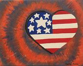 American flag heart oil painting, tie dye painting, patriotic decoration, girly painting, 11x14 painting, varnished, children's bedroom