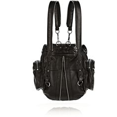 e81b768455 Alexander Wang Mini Martin Backpack in Black Leather with Rhodium ($650) ❤  liked on