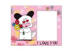 """HELLO SPANK PORTA FOTO VETRO I LOVE YOU  Porta foto Hello Spank in vetro di colore rosa con stampa di fiorelli e Spank con occhi a forma di cuore e mazzo di fiori tra le mani. Inoltre sotto al ritaglio della foto è possibile trovare la scritta """"I LOVE YOU"""""""