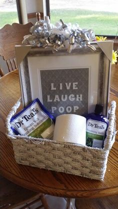 DIY gift idea. Man gift basket, live laugh poop, great present for any men in your life who like baths and poop jokes! Diy
