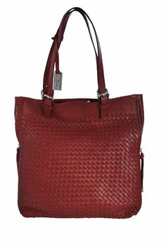 8cc69f3e03 Bottega Giotti Red Burgundy Nappa Leather Woven Large Tote Handbag
