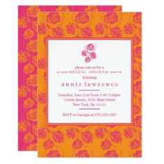 Vibrant Pink Floral Bridal Shower Invitations