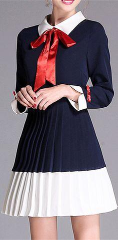 Bow Collar Long Sleeve Pleated Dress