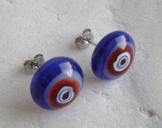 Fancy stud earrings from blue&red opal glass with a white italian millefiori flowers,Fused glass,Surgical steel,Handmade, Glass Earrings, Stud Earrings, Red Opal, Surgical Steel Earrings, Fused Glass, Fancy, Flowers, Handmade, Blue