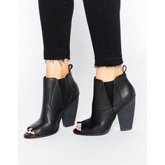 London Rebel Peeptoe Heeled Ankle Boots ($64) ❤ liked on Polyvore featuring shoes, boots, ankle booties, black pu, black high heel boots, peep toe bootie, ankle boots, black peep toe bootie and high heel boots