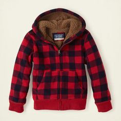 boy - activewear - plaid sherpa hoodie | Children's Clothing | Kids Clothes | The Children's Place